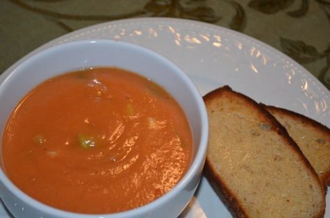 Butter bean and tomato soup served with (prototype) vegan almond bread.